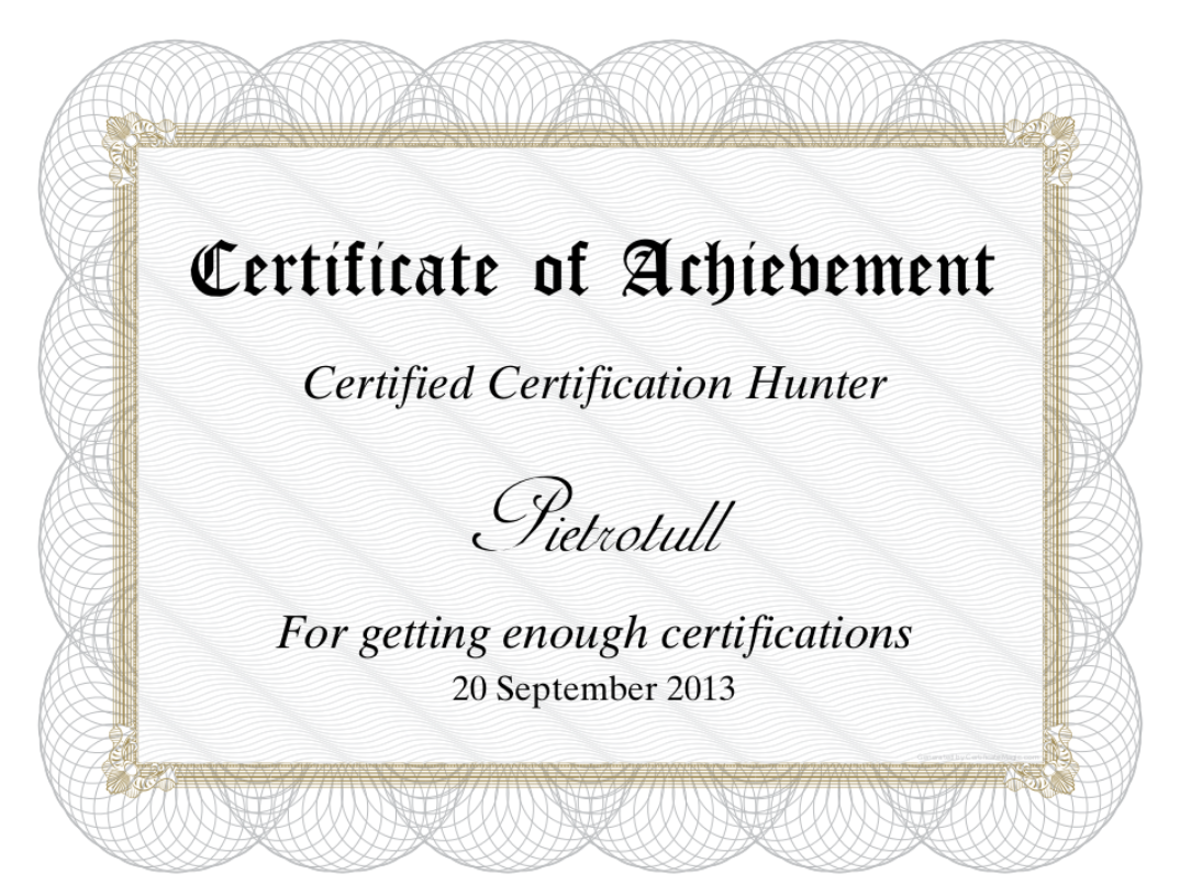 Certified certification hunter a few bytes of piet xflitez Choice Image